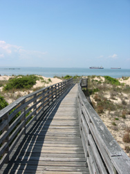 a boardwalk leading to the swimming beach