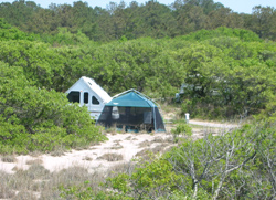 a tent and pop-up trailer at a First Landing campsite